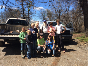 Mary Sketch leads a community workday in Calaveras County, California after the Butte wildfire