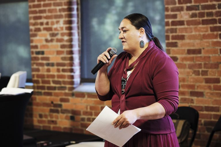 Prairie Rose Seminole, trainer with Vote Run Lead, speaks about native visibility at the Rural Women's Summit