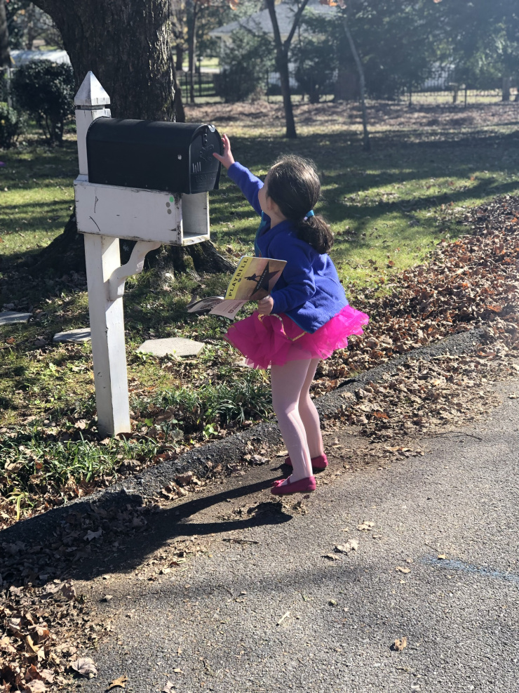 Little girl checking mail